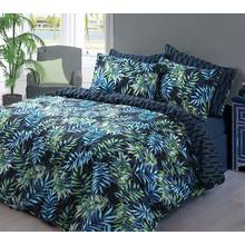 Pieridae Navy Palm Leaf Bedding Set - Kingsize