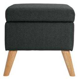 Argos Home Lexie Fabric Storage Footstool - Charcoal