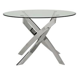 Furnoko Kalmar Round Glass 4 Seater Table - Clear