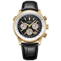 Rotary Men's Black Leather Strap Pilot Style Chrono Watch