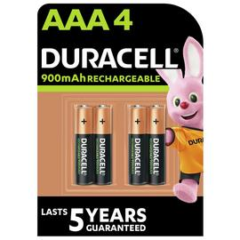 Duracell Rechargeable AAA 900mAh Batteries - Pack of 4