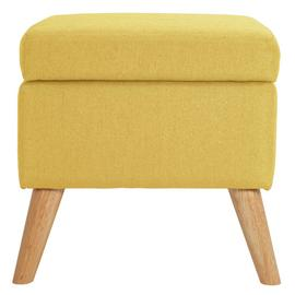Argos Home Lexie Fabric Storage Footstool - Yellow