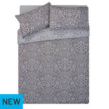 HOME Grey Lace Damask Bedding Set - Double