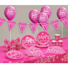 Pink Sparkle Happy Birthday Party Pack