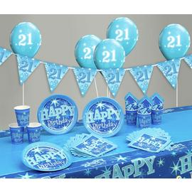 Blue Sparkle 21st Birthday Party Pack