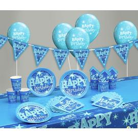 Blue Sparkle Happy Birthday Party Pack
