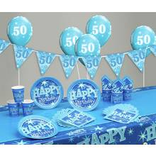 Blue Sparkle 50th Birthday Party Pack