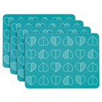 more details on Beau and Elliot Outline Set of 4 Placemats - Teal.
