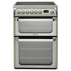 Hotpoint HUE61XS 60cm Twin Cavity Electric Cooker - Silver
