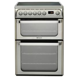 Hotpoint HUE61XS 60cm Double Oven Electric Cooker - S/Steel Best Price, Cheapest Prices