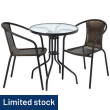 HOME 2 Seater Rattan Effect Balcony Set