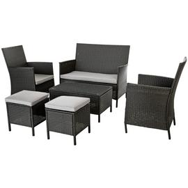 Argos Home 6 Seater Rattan Effect Sofa Set - Dark Grey