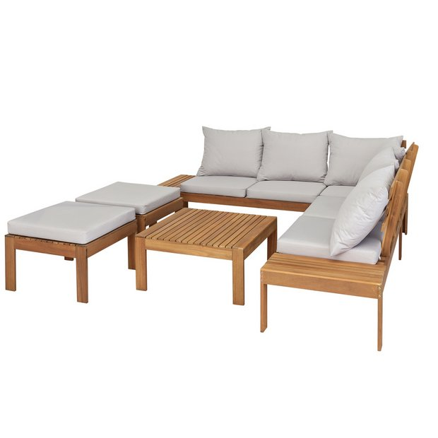 Buy Argos Home 6 Seater Wooden Corner Sofa Set Garden Table