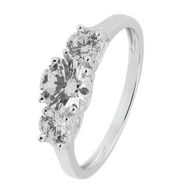 Revere 9ct White Gold Round Cut Cubic Zirconia Ring