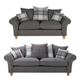 Argos Home Edison Fabric 2 Seater & 3 Seater Sofa - Charcoal