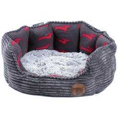 Petface Grey Bamboo & Jumbo Cord Deli Bed - Small