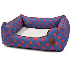 Petface Blue Spots Square Bed - Large