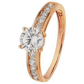 Revere 9ct Rose Gold Cubic Zirconia Solitaire Shoulder Ring