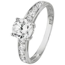 Revere 9ct White Gold CZ Solitaire Shoulder Accent Ring