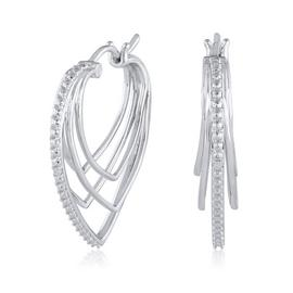 Revere Sterling Silver 0.02ct tw Diamond Heart Hoop Earrings