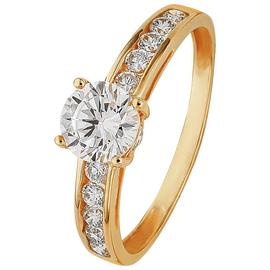 Revere 9ct yellow Gold Solitaire CZ Shoulder Ring