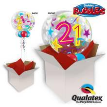 21st Birthday Brilliant Star 22 Inch Bubble Balloon In A Box
