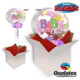 Baby Girl Moon & Stars 22 Inch Bubble Balloon In A Box
