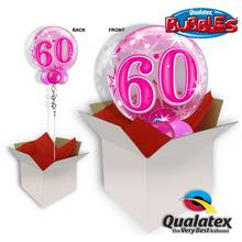60th Pink Starburst Sparkle 22 Inch Bubble Balloon In A Box