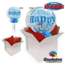Birthday Blue Starburst Sparkle Bubble Balloon In A Box