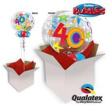 40th Birthday Brilliant Stars Bubble Balloon In A Box