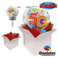 50th Birthday Brilliant Stars Bubble Balloon In A Box