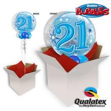 21st Birthday Blue Starburst Sparkle Bubble Balloon In A Box