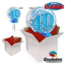 40th Birthday Blue Starburst Sparkle Bubble Balloon In A Box