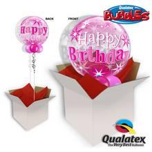 Birthday Pink Starburst Sparkle Bubble Balloon In A Box