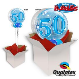 50th Birthday Blue Starburst Sparkle Bubble Balloon In A Box