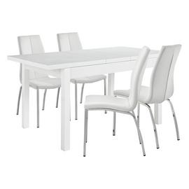 Argos Home Lyssa Gloss Extending Table & 4 Ivory Milo Chairs