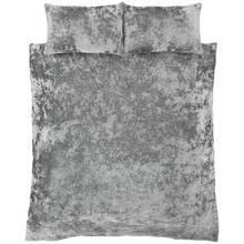 Catherine Lansfield Crushed Velvet Silver Duvet Set - King