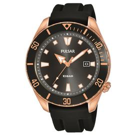 Pulsar Men's Black Silicone Diver-Inspired Strap Watch