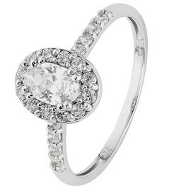 Revere 9ct White Gold Cubic Zirconia Oval Halo Ring