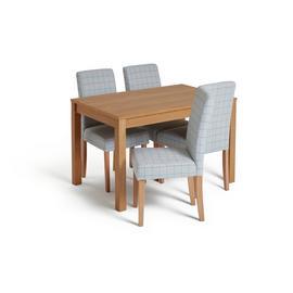 Habitat Clifton Oak Veneer Table & 4 Light Grey Chairs