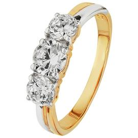 Revere 9ct Yellow Gold Cubic Zirconia Trilogy Ring