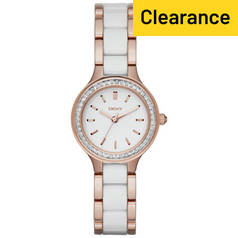 DKNY Ladies' Chambers NY2496 Ceramic Rose Gold Tone Watch