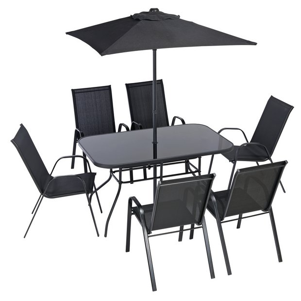 Buy Argos Home Sicily 6 Seater Metal Patio Set Black Garden Table