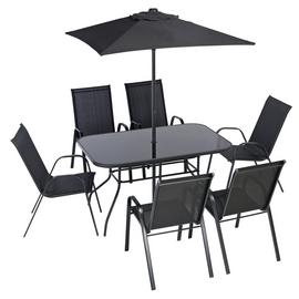 Argos Home Sicily 6 Seater Metal Patio Set - Black
