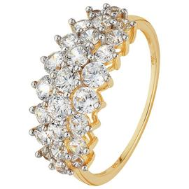 Revere 9ct Yellow Gold CZ Elongated Cluster Ring.