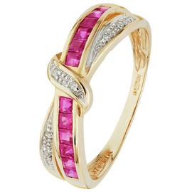Revere 9ct Yellow Gold Ruby & Diamond Eternity Ring