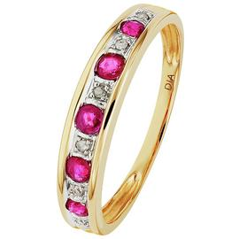 Revere 9ct Yellow Gold Ruby & Diamond Accent Eternity Ring
