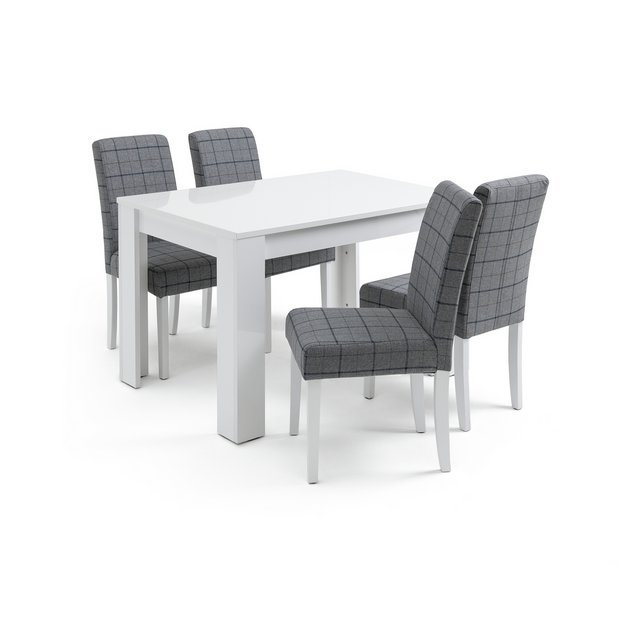 Buy Argos Home Miami White Gloss Dining Table & 4 Chairs - Blue | Dining Table And Chair Sets | Argos