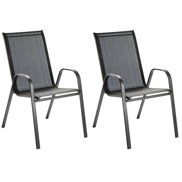 Buy Argos Home Sicily Metal Set of 2 Stacking Chair Black | Garden chairs and sun loungers | Argos