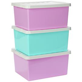 Argos Home Set of 3 27 Litre Pink Storage Boxes with Lids